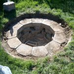 traditional in ground fire pit design made of stone with grassy meadow surrounding beneath shady tree