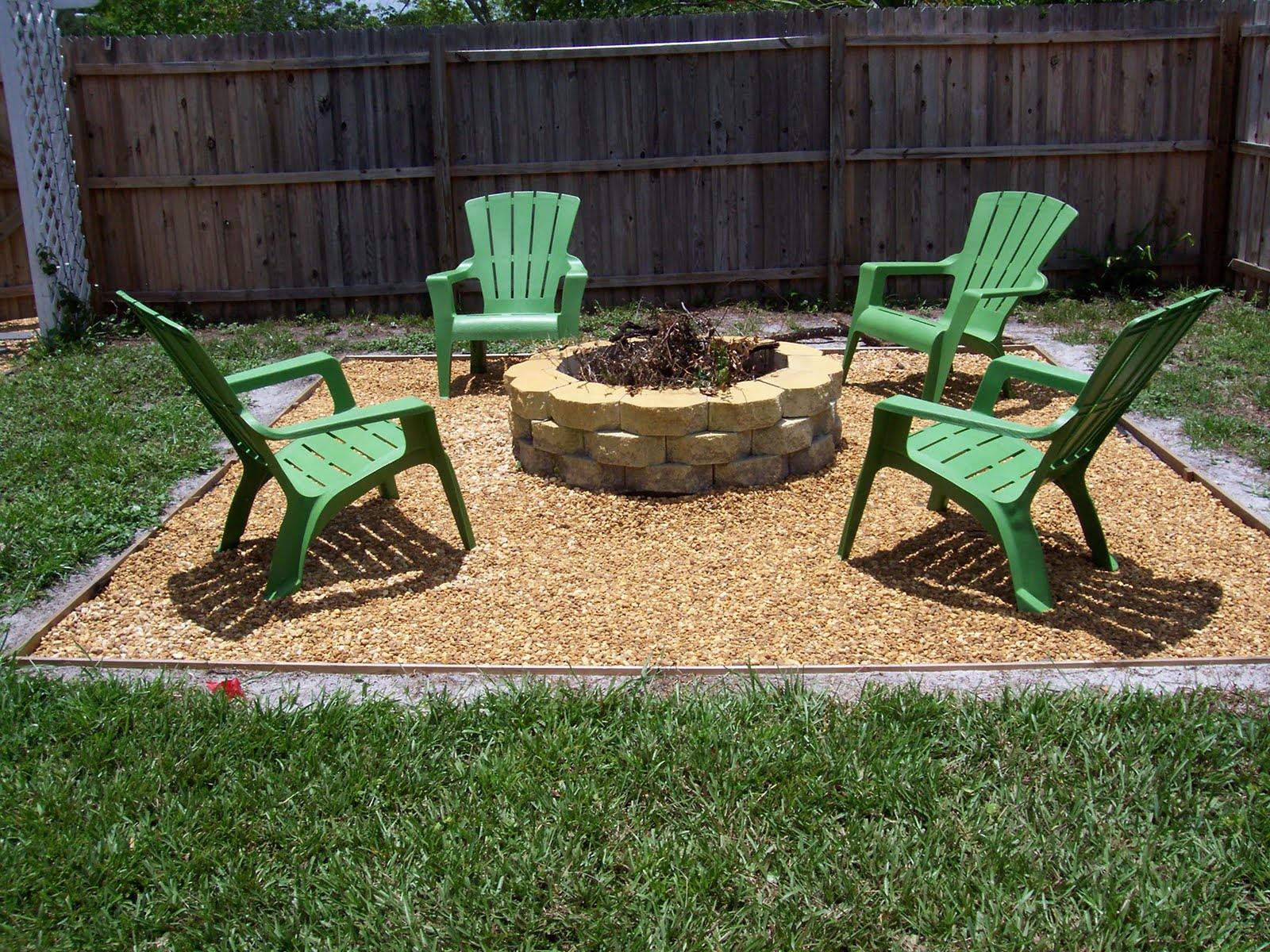 Good Traditional In Ground Fire Pit Design Of Simple Outdoor Living Space With  Green Lawn Chairs Design