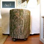 tree stump side table with wheels
