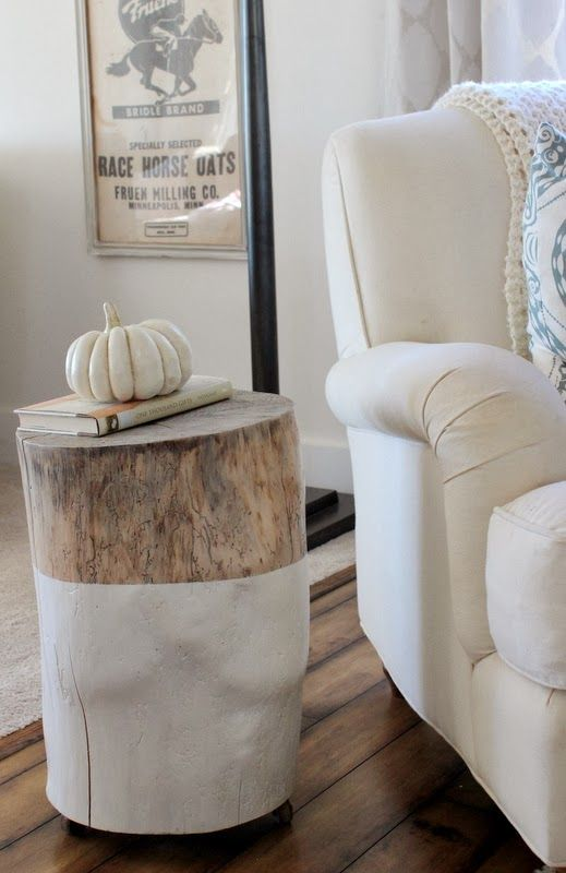 Trunk Stump Side Table With Half Way White Paint A Comfy Reading Chair In White Wood