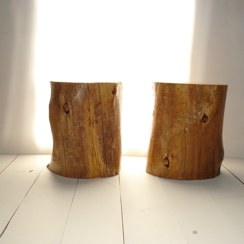 Twin Natural Tree Stumps Side Table Design In Natural Color On White Tiles  Flooring Design