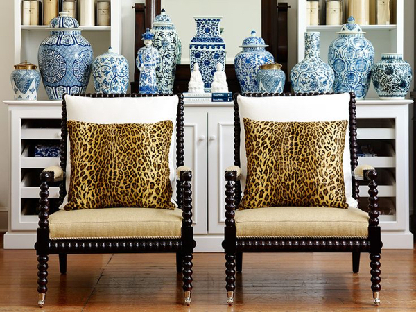 Twin Spool Chairs With Ornamental Legs And Back Features Plus Animal Skin  Prints An Arrangement Of