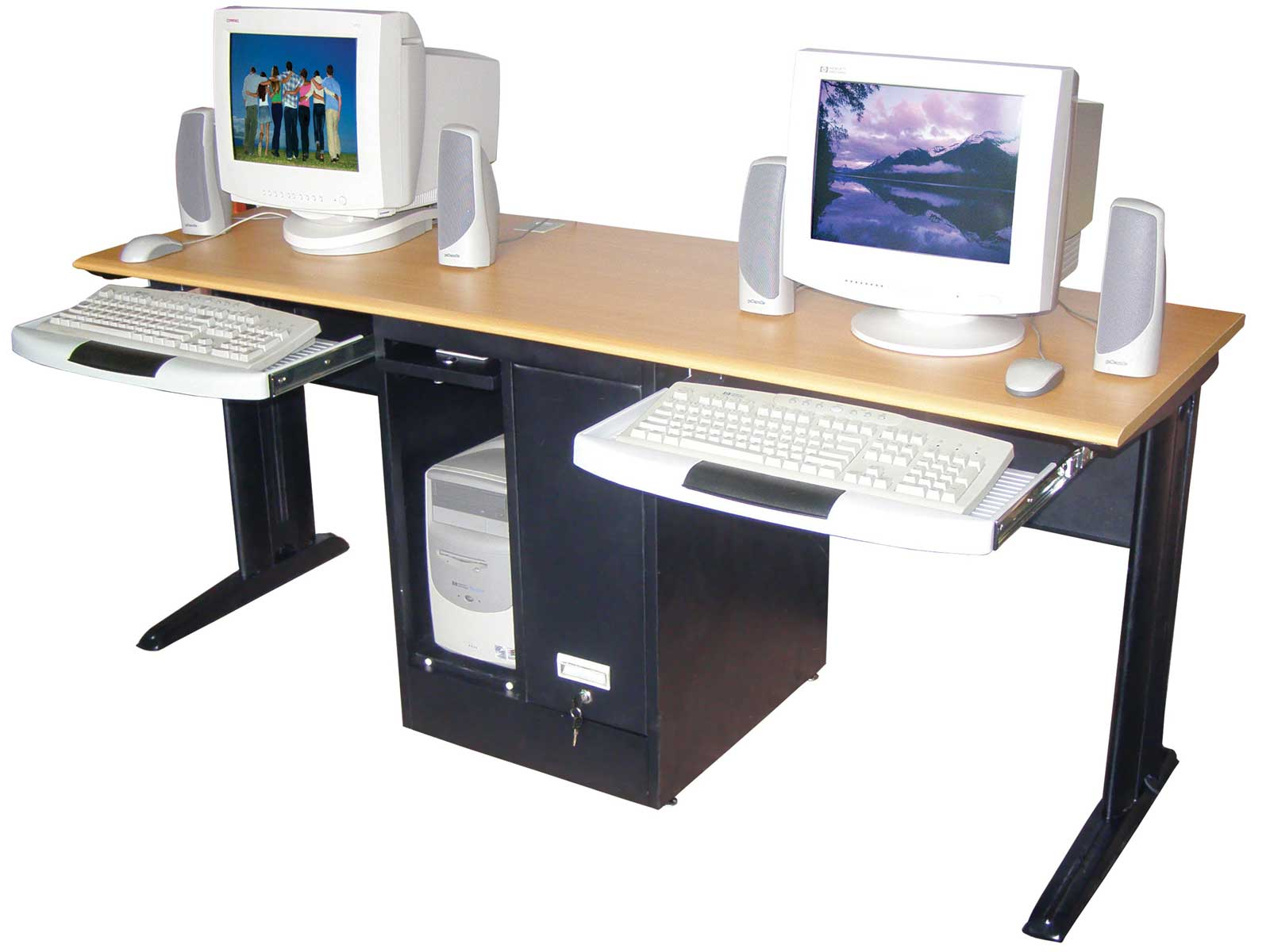 home office computer workstation. Unique Home Two People Computer Desk With Sliding Panel For Keyboard And Under Shelf  Unit CPU Throughout Home Office Computer Workstation O