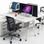 two sided office desk for computers two units of movable office chairs mounted shelf for organizing file and document organizer