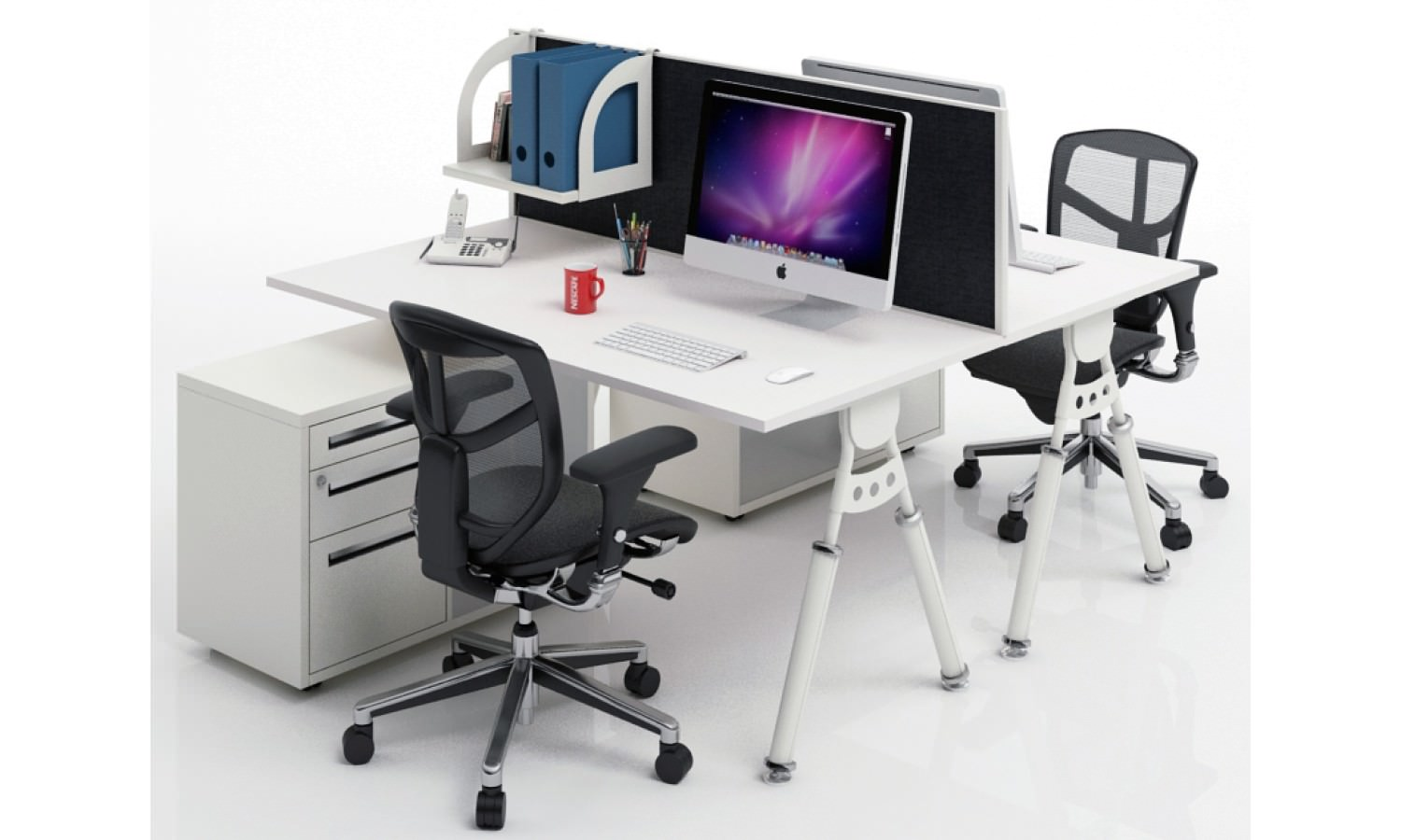 Captivating Two Sided Office Desk For Computers Two Units Of Movable Office Chairs  Mounted Shelf For Organizing