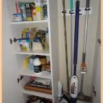 two sided rooms of a closet that one room is for cleaning tools and one more is for supplies storage