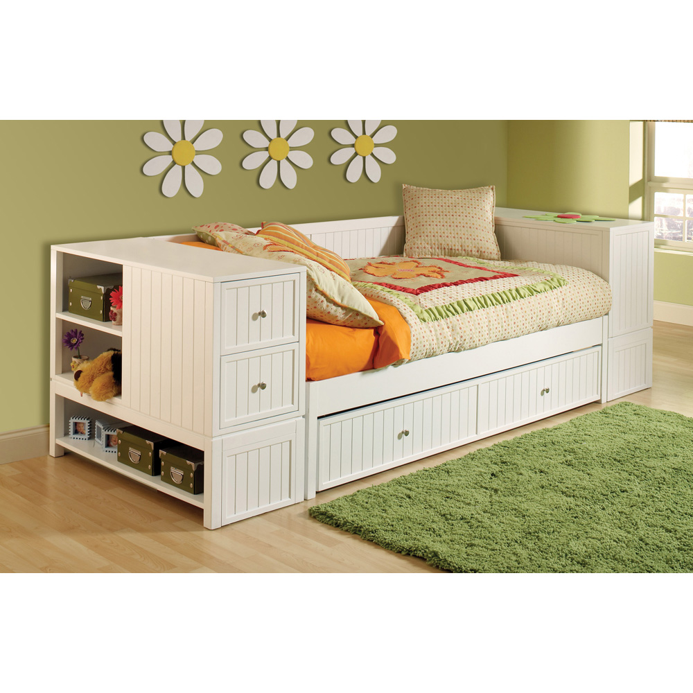 daybed space drawer the drawers bedroom storage floor and of for with trundle on small great white wooden