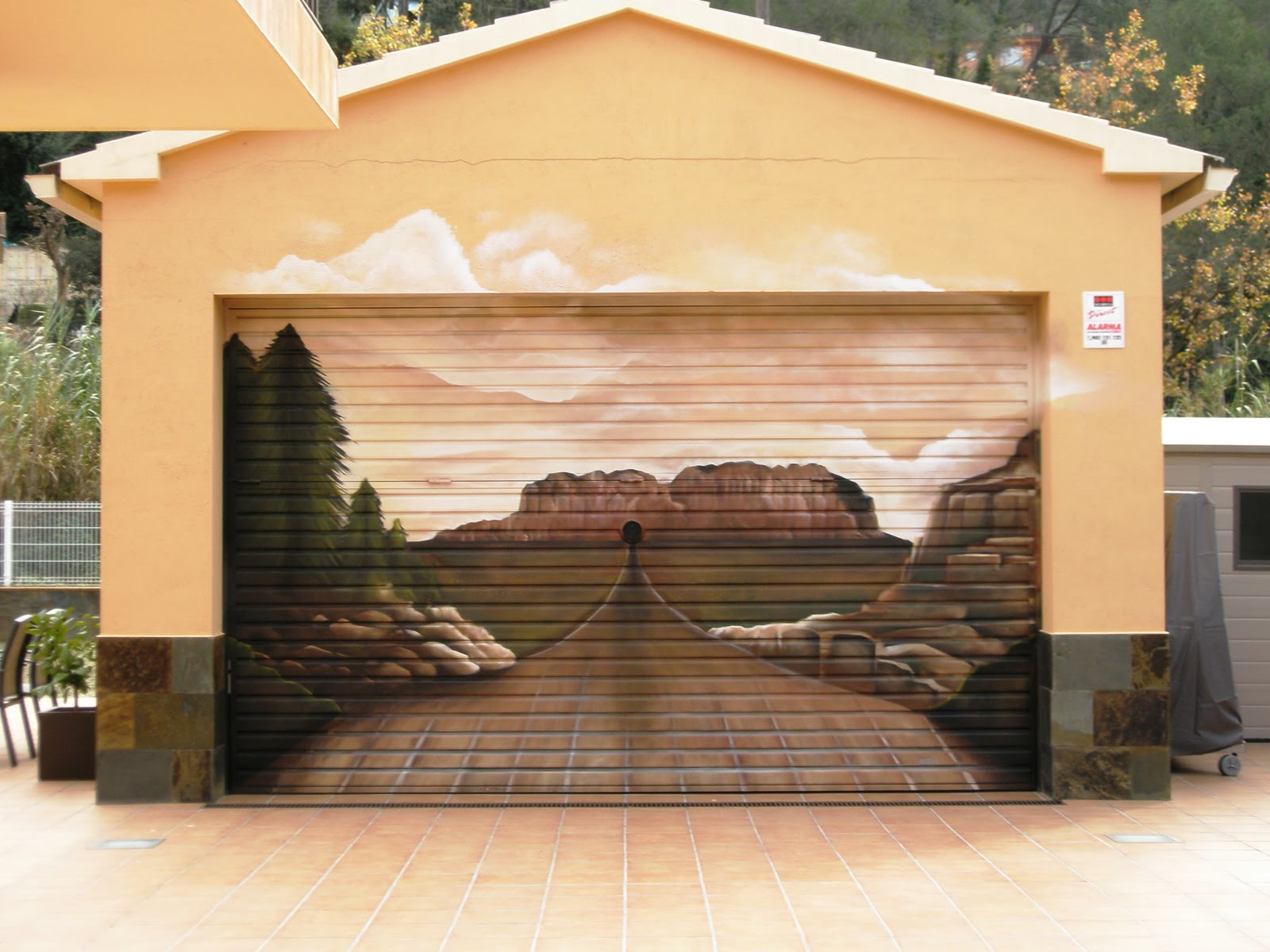 Exceptionnel Unique Garage Doors With 3d Mural Panorama Combined With Pastel Wall Scheme  Plus Marble And Tile