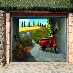 unique garage doors with photo murals of scooter and natural stone wall and floor with plant on the roof