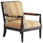 unique spool chair design with cream ethnic patterned seating and bolster and armrest
