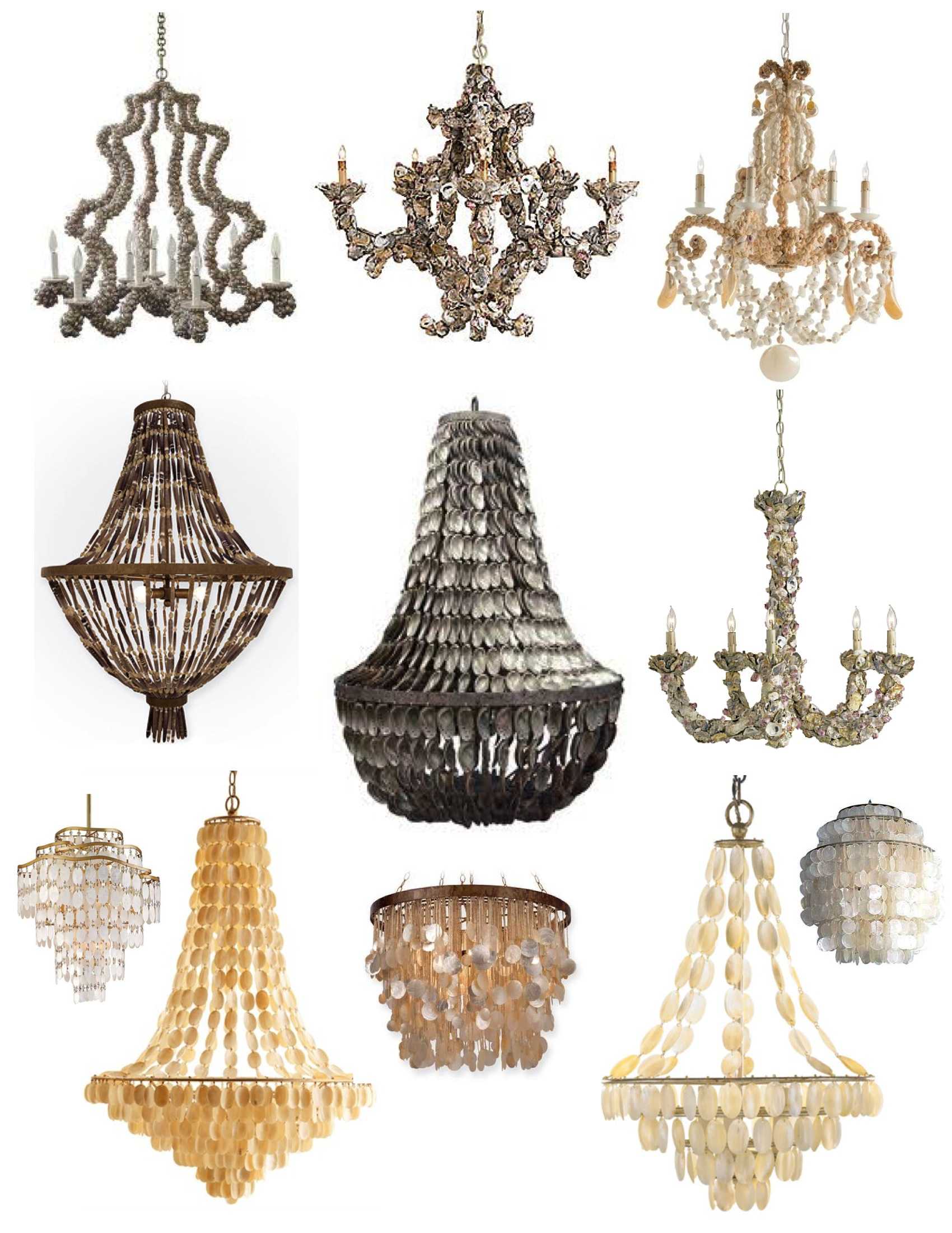 Oyster shell chandelier ideas homesfeed various designs of pendant chandelier s made from oyster shells aloadofball Gallery