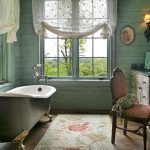 vintage bathroom design with freestanding tub idea beneath bar windows woth patterned sheer white curtain with antique vanity and chair and chestdrawer