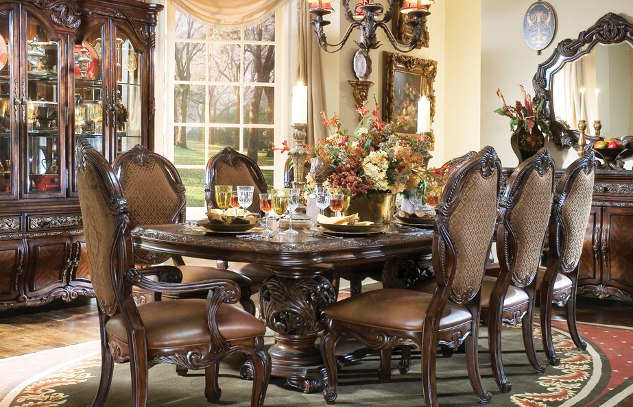 Vintage Luxurious Dining Room Design With Royal Wooden Cowhide Chairs Combinationn Before Carved Table