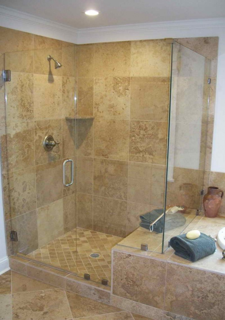 Walk In Shower With Glass Door Plus Handle Mosaic Tiles For Floors And Ceramic Tiles For