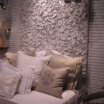 white canvas headboard idea shiny metal pendant lamp light brown pillows