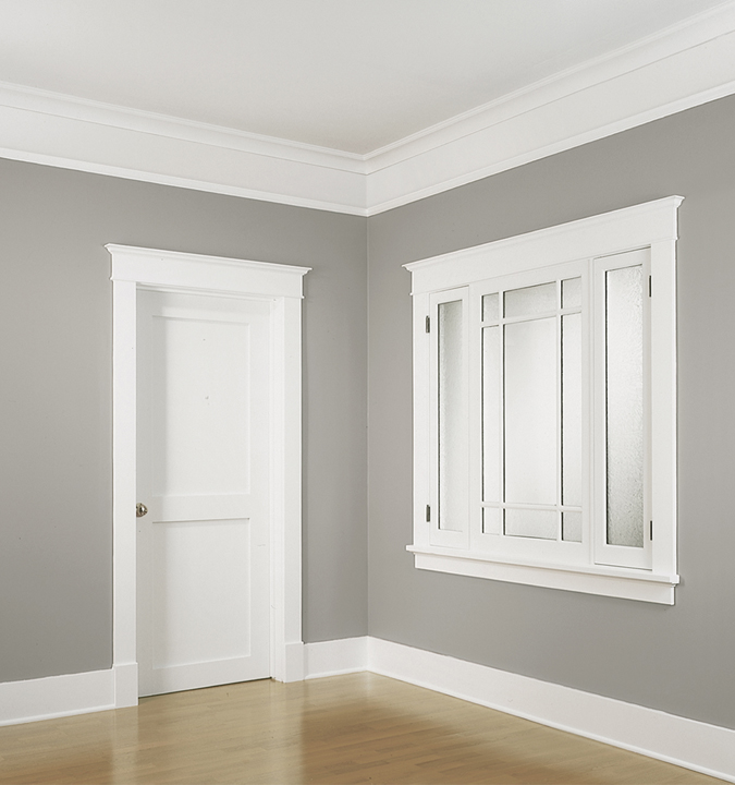 White Door Panel With Simple Casing A Large Gl Windows Window Trim