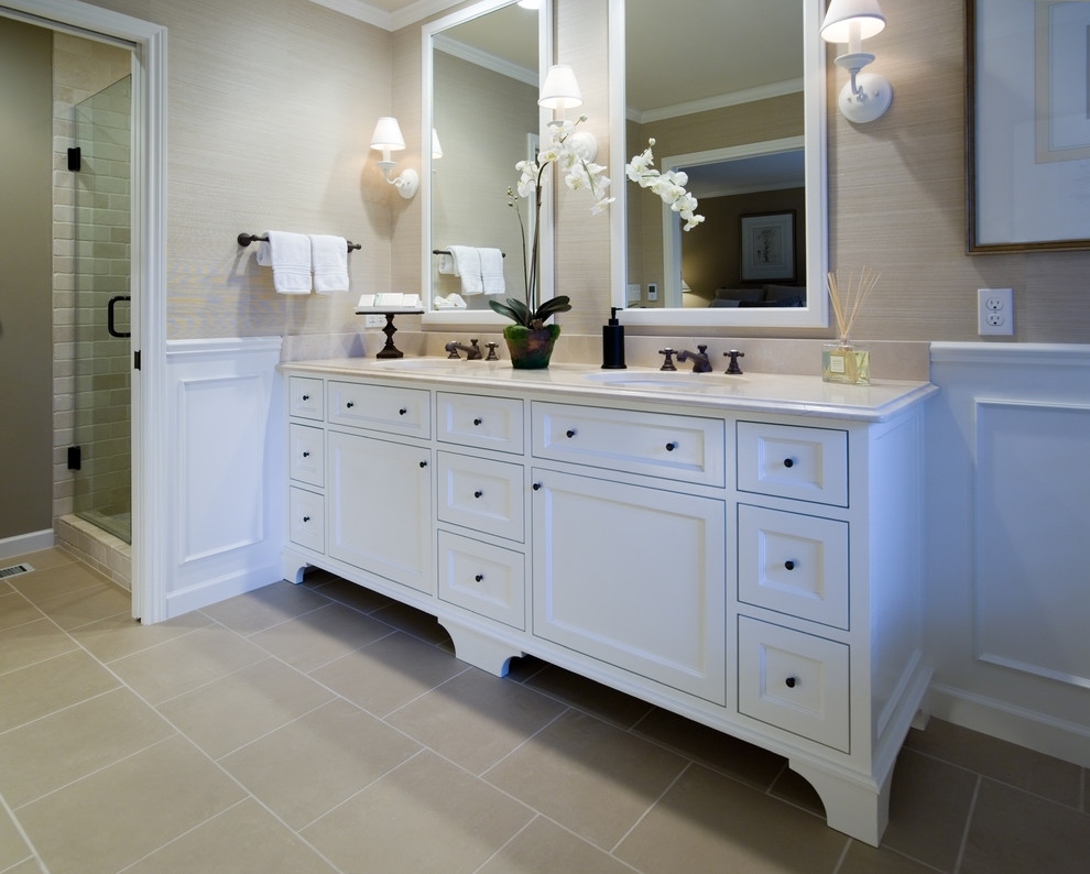 White Semi Modern Bathroom Vanity With Double Sinks And Black Metal Faucets Square Mirrors