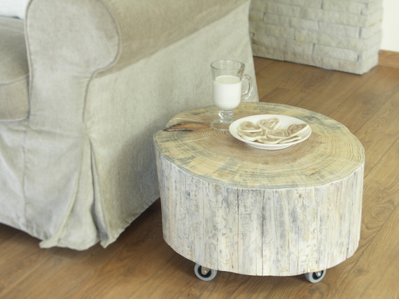 Tree trunk side table contribute immense natural accent - White painted tree trunks ...