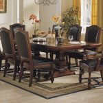 wonderful brown dining room design with furnished rectangle table with cowhide chairs with tall backrest upon brown patterned rectangle area rug with yellow curtain