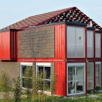 Wonderful Cool Adorable Nice Creative Large Shipping Container House Two Storey Contemporary House In A Bold Shade With Eithgt Contaniners In Red And Glass Windows