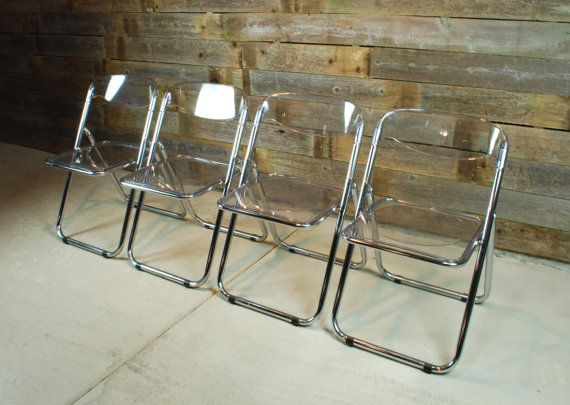 Wonderful Cool Clean Clear Four Lucite Folding Chairs
