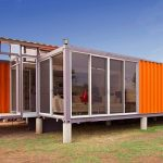 Wonderful Cool Modern Nice Creative Large Shipping Ontainer House Bright And Bold Design Of Container Of Hope With Orange Coloring Design And Glassy Window