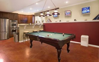 wonderful-cool-nice-creative-flooring-ideas-basement-flooring-ideas-with-wooden-concept-with-pool-table-and-nice-pendant-light