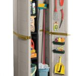 wonderful freestanding broom closet design in grey look with door storage for cleaning tools with mop and brooms and bucket