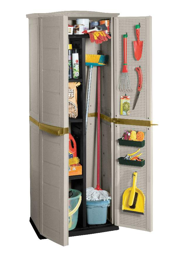 Wonderful Freestanding Broom Closet Design In Grey Look With Door Storage  For Cleaning Tools With Mop