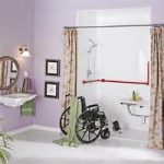 wondrous handicap accessible bathroom desin with floral curtain before shower room with wheel chair and floating vanity and round wall mirror
