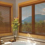 wooden window blinds for large glass window  beautiful glass vase with green vivid decorative plant