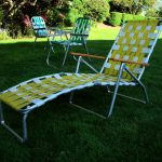 yellow white lawn chair idea with long seating for footrest and tall backrest with wooden armrest and aluminium legs