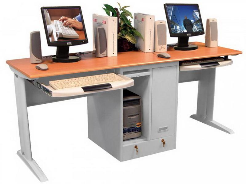 2 Person Desk Ikea For Home Office With Cpu Storage Underneath And Sliding  Panel For Keyboard