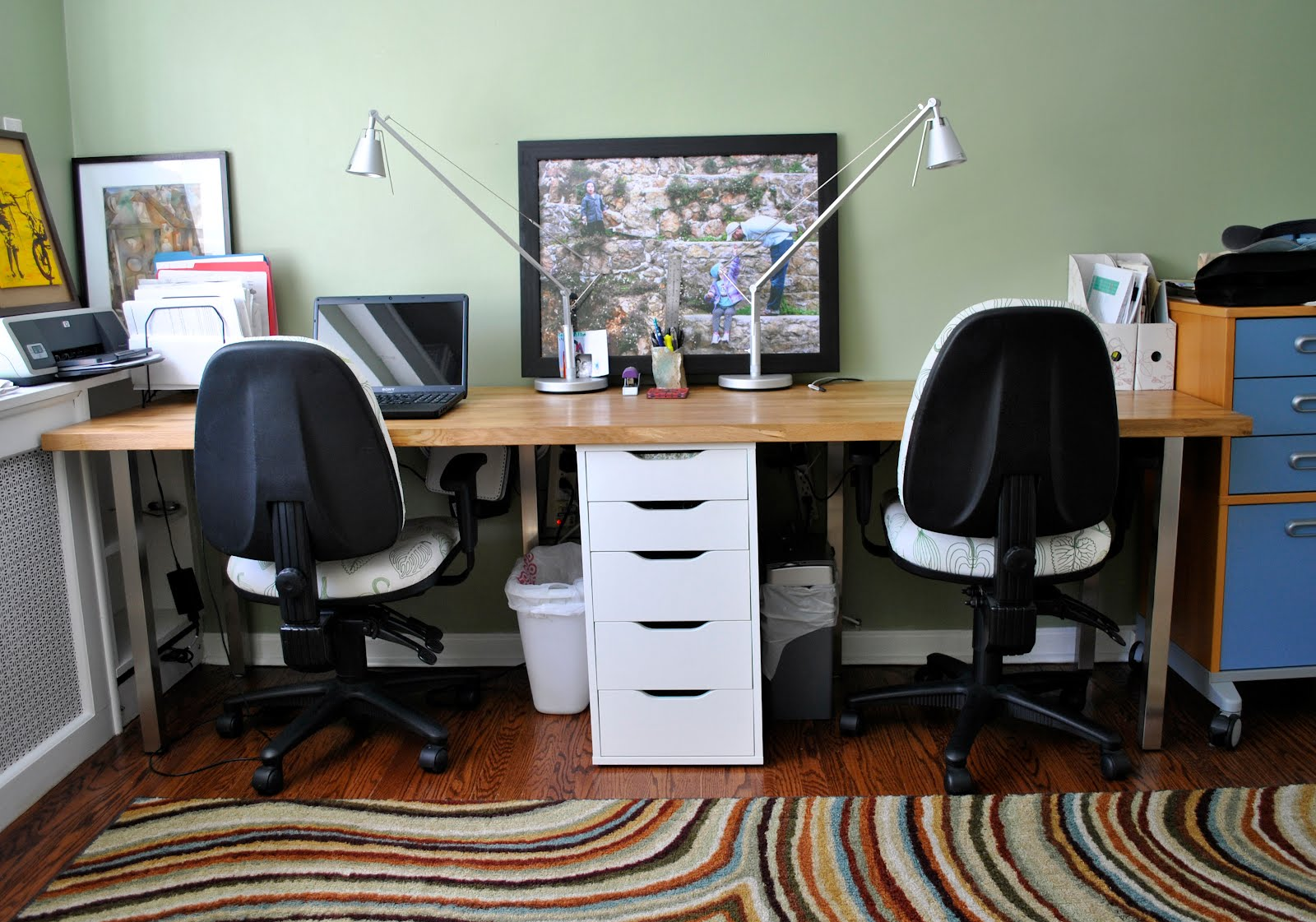 Rousing and smart home office ideas with 2 person desk at for Office table ideas