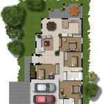 2D home plan with car port front and back yards outdoor patio living room kitchen three bedrooms dining room and bathroom