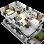 3D version of duplex floor plan for ground and first floor that is completed with car port and front yard
