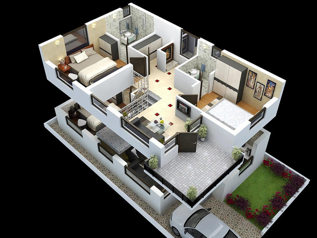 Superbe 3D Version Of Duplex Floor Plan For Ground And First Floor That Is  Completed With Car