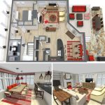 A floor plan in 2 dimension and 3 dimension versions for two floors and include the interior features