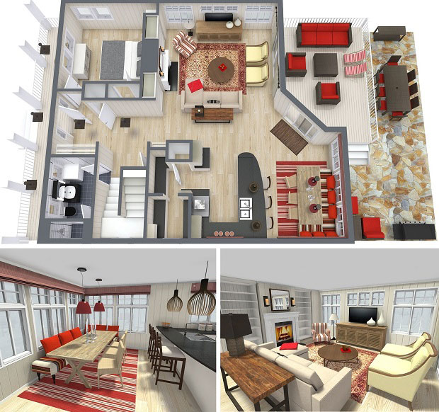 a floor plan in 2 dimension and 3 dimension versions for two floors and include the - Floor Plan Designer