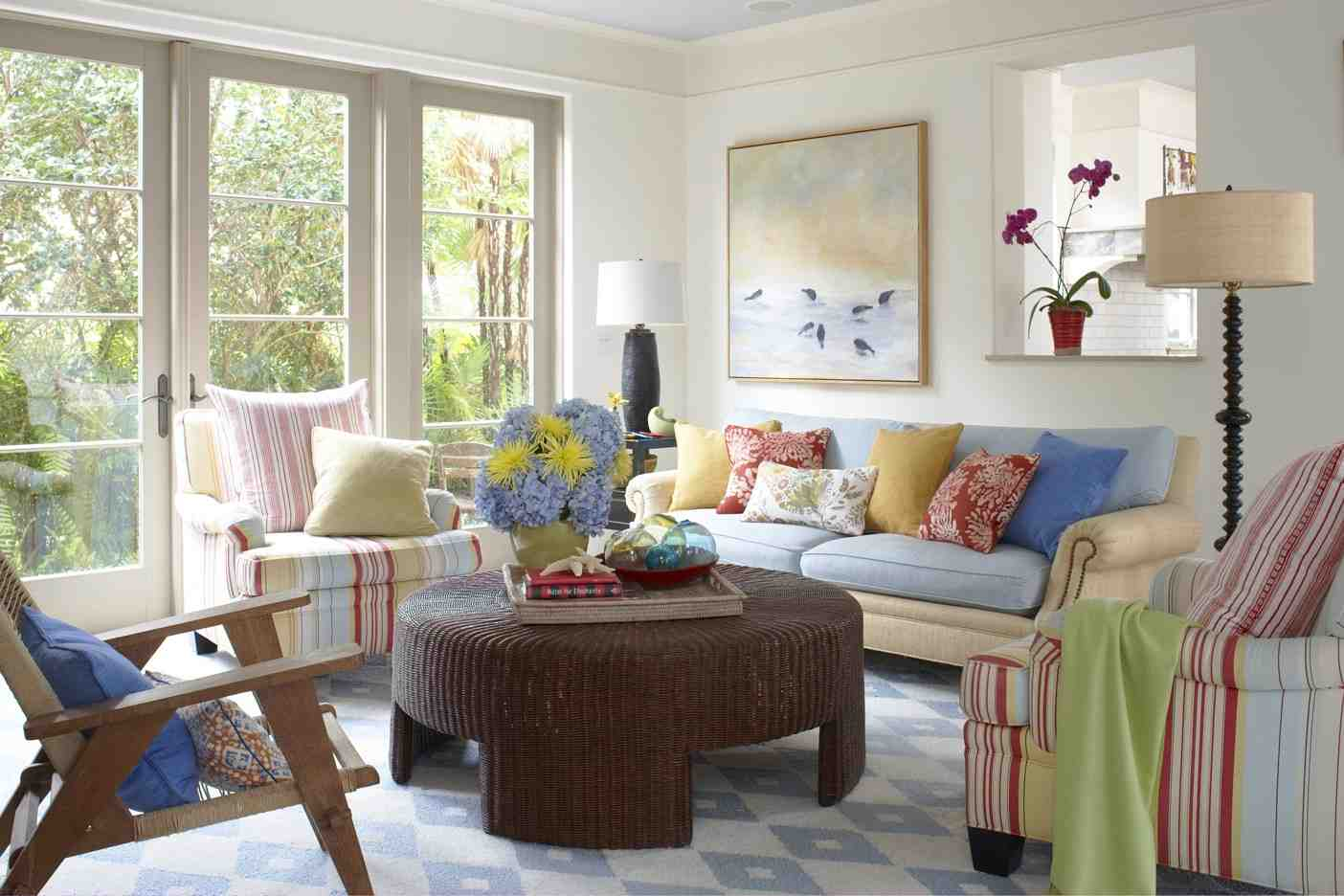 Delicieux Better Homes And Gardensu0027 Design Idea For Living Room With Colorful Sofa  Plus Multiple Color