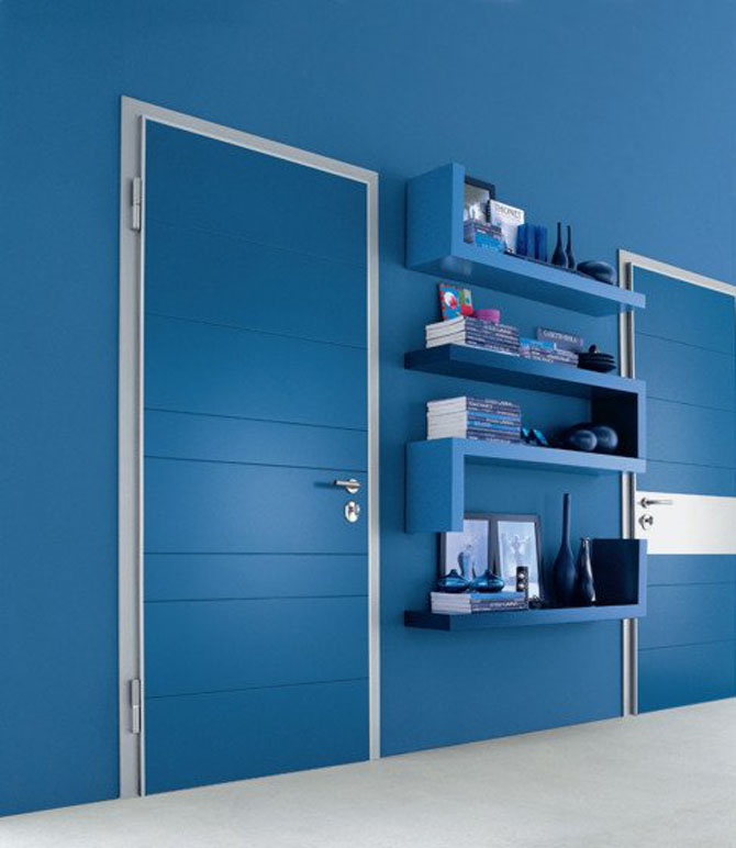 Bright Blue Colored Door Modern Style Of Floating Shelving Systems For Books And Decorative Items In