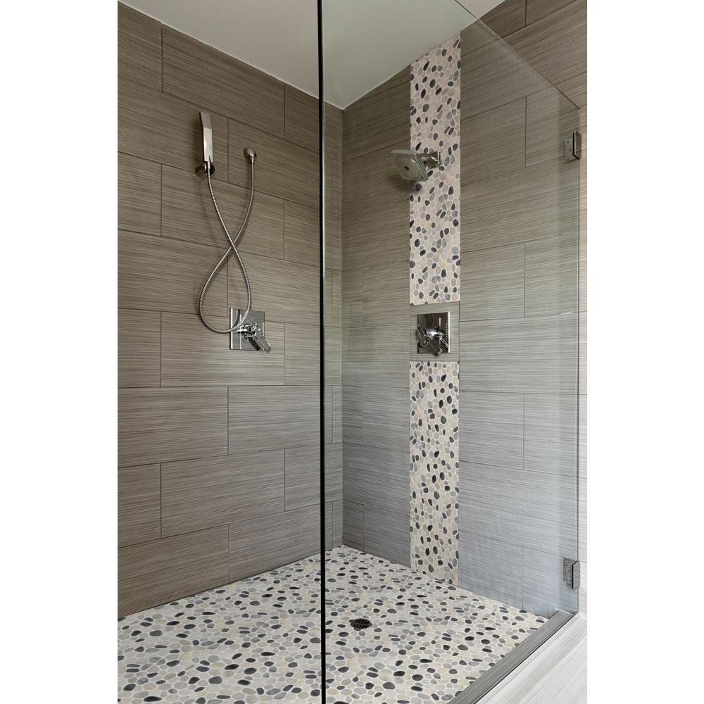 Doorless Shower Stall With Transparent Glass Panel Heldhand Shower Fixture Beautiful Mosaic Natural Stones Floors And