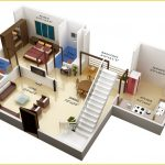 Duplex home plan for first floor in 3D version which consists of a master bedroom a kitchen room a living room an open space for dining room and family room two toilet rooms