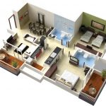 Duplex house plan in 3D that describes an open space for family room and dining room two bathrooms a kitchen room a laundry room two bedrooms two porches