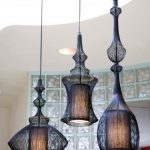 Ethnic and traditional pendant light fixtures in black color and in unique shape