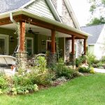 Front yard landscaping for ranch home style with porch a swing chair and some chairs for porch