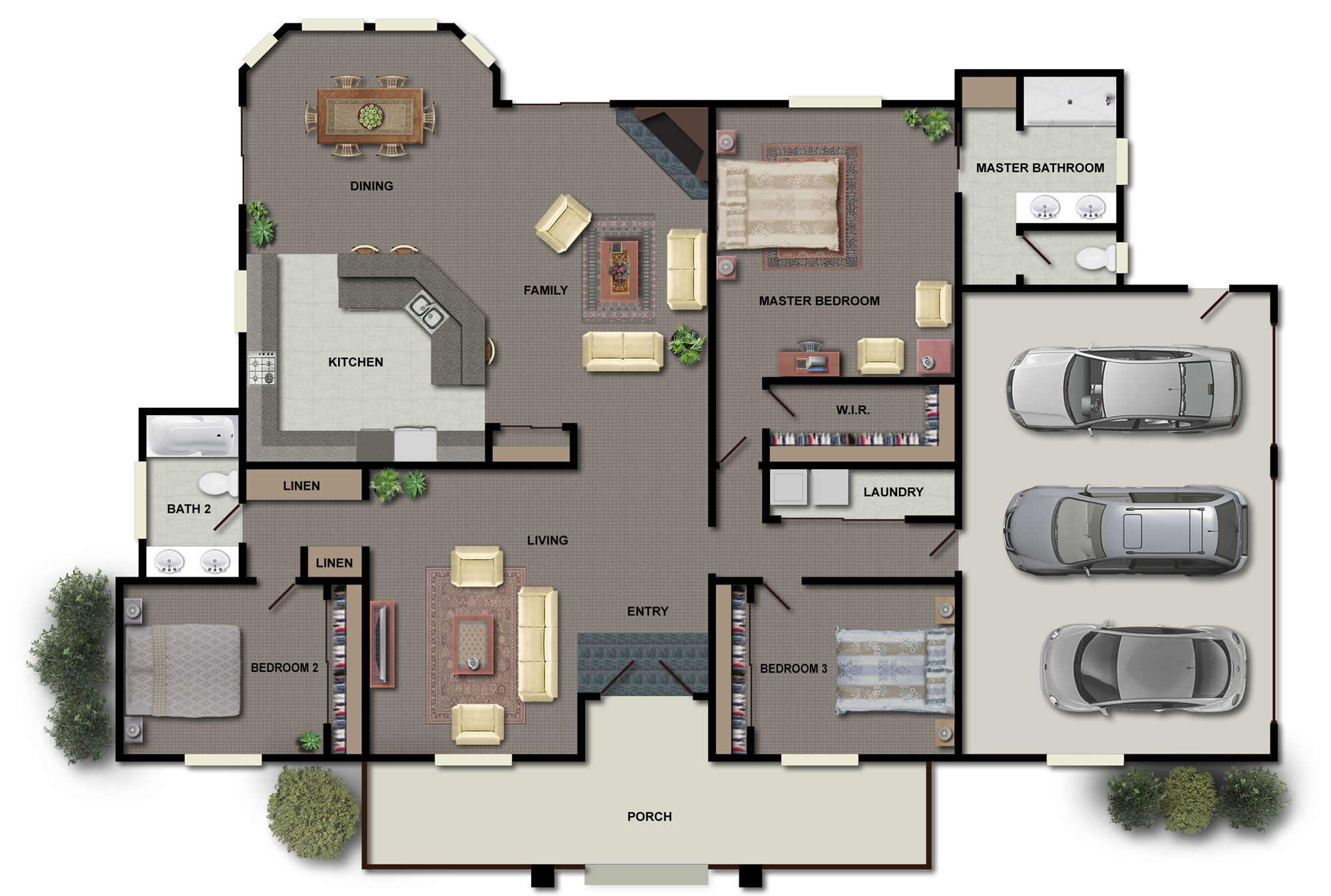 Good Homeu0027s Floor Plan In 2D With Large Cart Port For Three Units Of Car And  Front