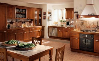 Home Depot kitchen design in classic style with wood kitchen storage simple wood dining chairs white surface dining table brown subway tiles flooring
