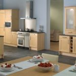 Home Depot kitchen design tool depicting a modern kitchen with wood material dominance
