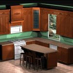 Kitchen Floor Plan Idea For Classic Kitchen Style That Describes Wood Cabinet Systems In Classic Style Vinyl Countertop That Looks Like Wood A Gas Stove A Kitchen Island Plus Bar Chairs